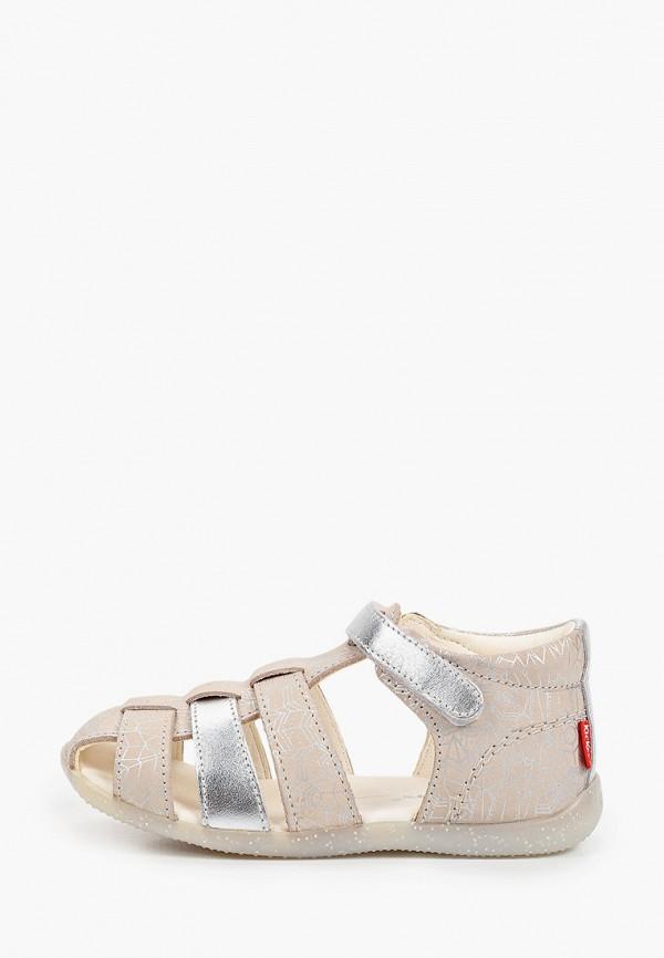 сандалии kickers для девочки, бежевые
