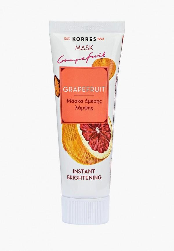Купить Маска для лица Korres, для мгновенного улучшения цвета лица с грейпфрутом 18 мл, KO003LWNUK68, Осень-зима 2018/2019