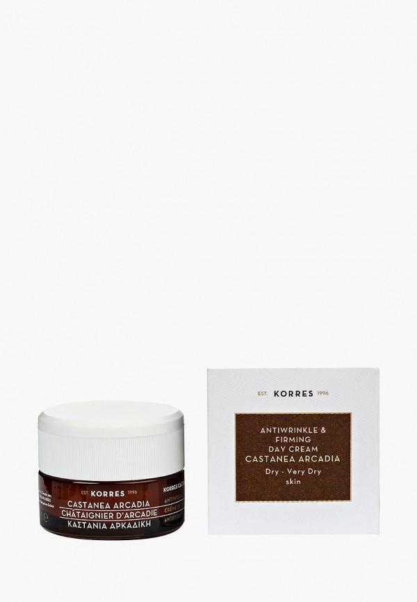 Купить Крем для лица Korres, дневной укрепляющий против морщин с каштаном для сухой и очень сухой кожи, KO003LWOYG23, Осень-зима 2018/2019