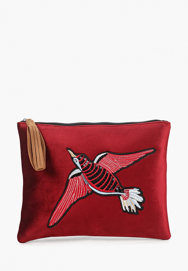 женский клатч koton, бордовый