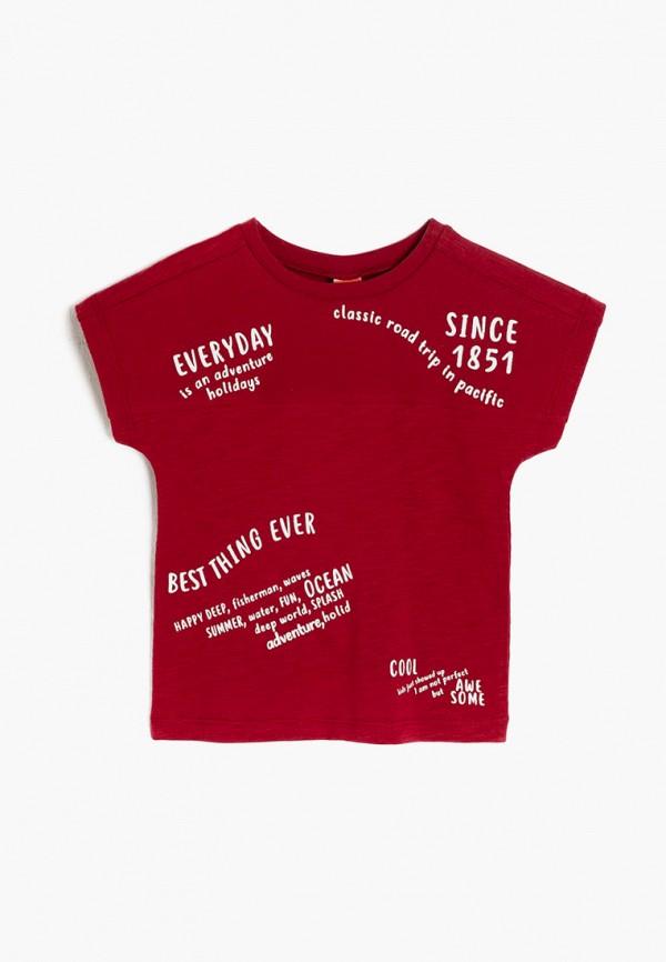 футболка с коротким рукавом koton для мальчика, бордовая