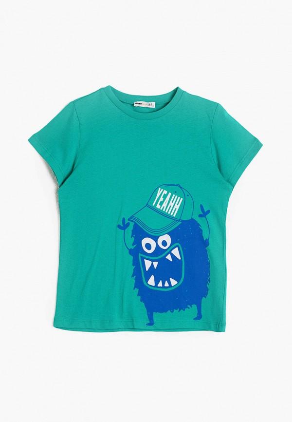 футболка с коротким рукавом koton для мальчика, бирюзовая