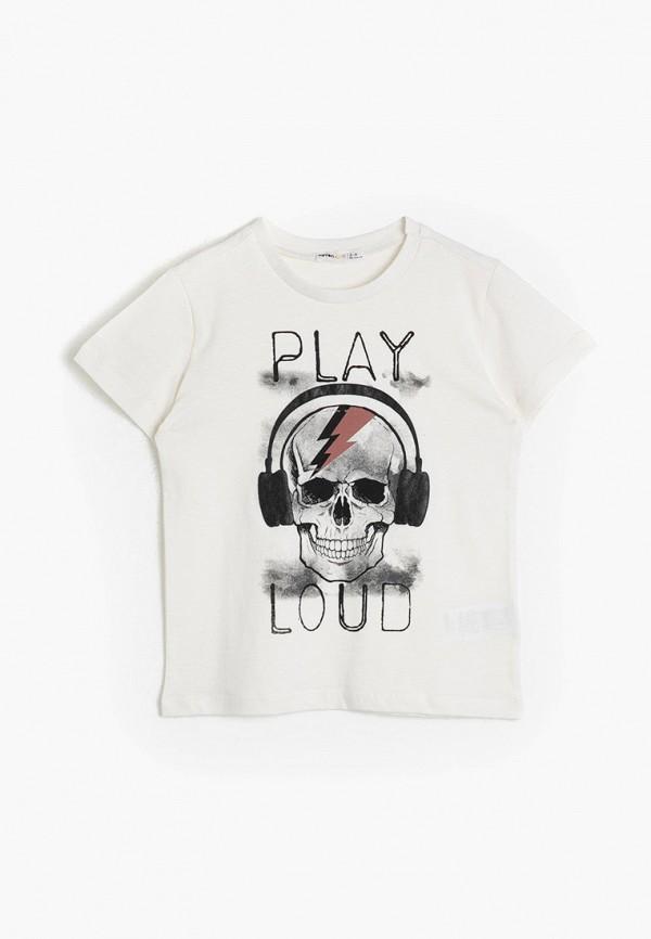 футболка с коротким рукавом koton для мальчика, белая
