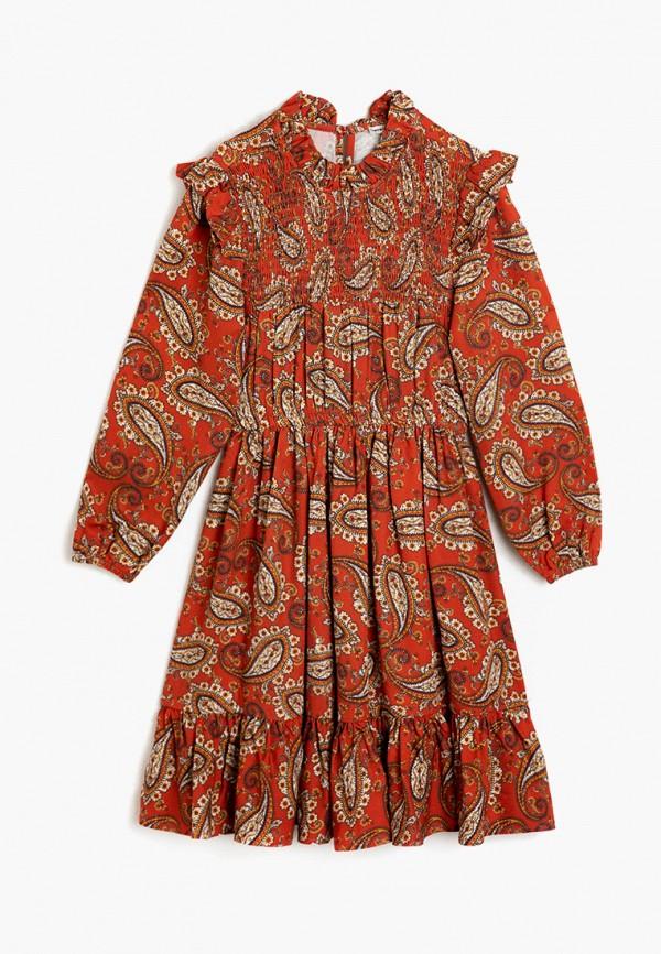 повседневные платье koton для девочки, коричневое