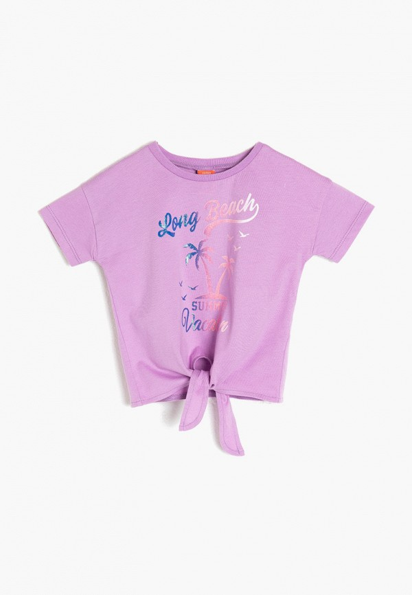 футболка с коротким рукавом koton для девочки, фиолетовая