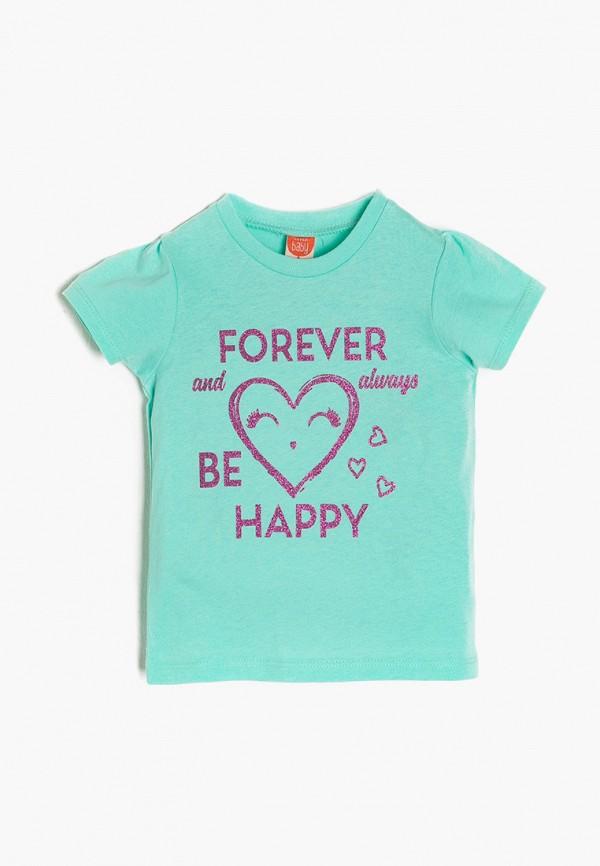 футболка с коротким рукавом koton для девочки, бирюзовая
