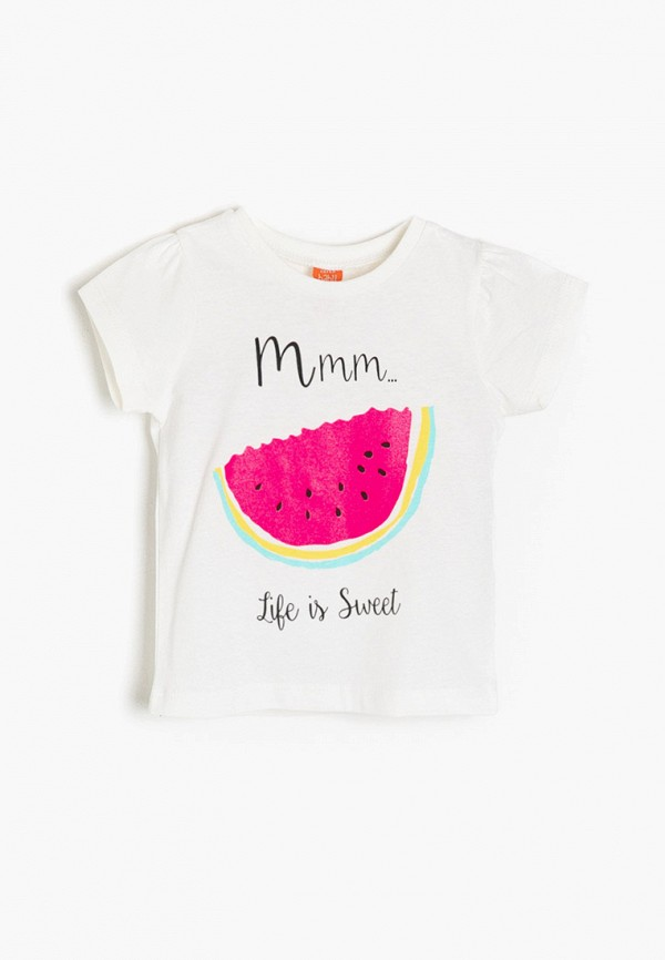 футболка с коротким рукавом koton для девочки, белая