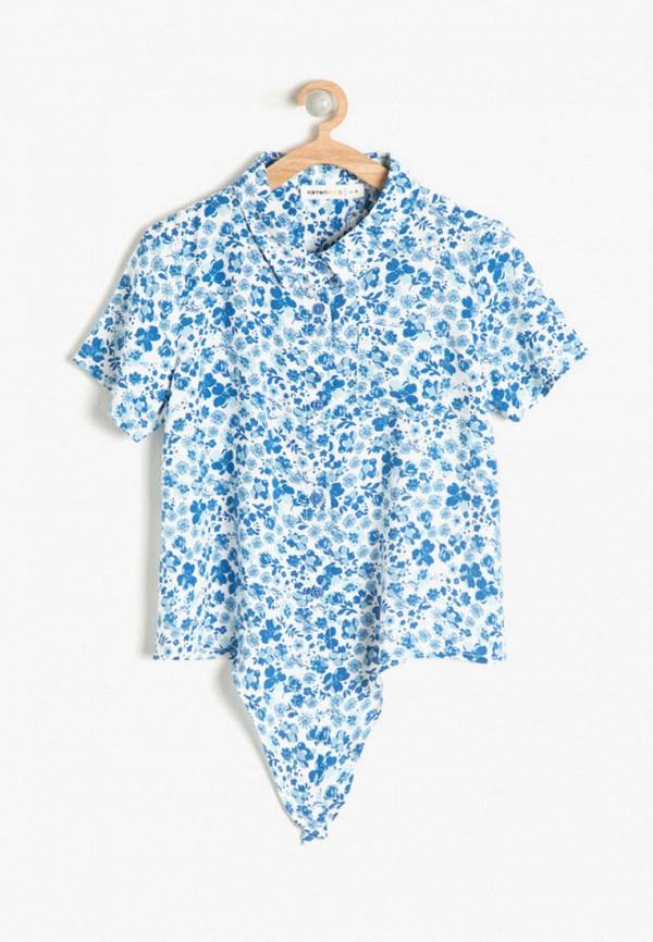 рубашка koton для девочки, голубая
