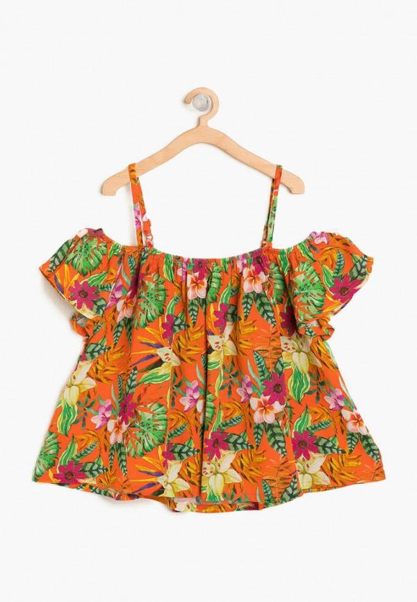 блузка koton для девочки, оранжевая