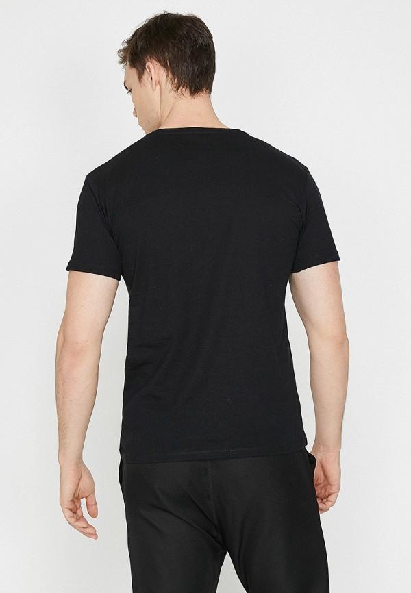 Фото 2 - мужскую футболку Koton черного цвета