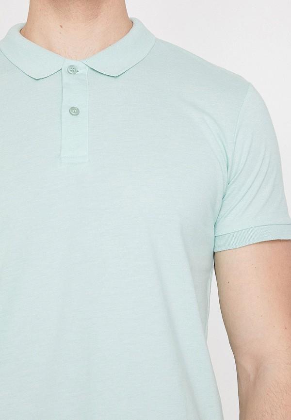 Фото 3 - мужское поло Koton бирюзового цвета