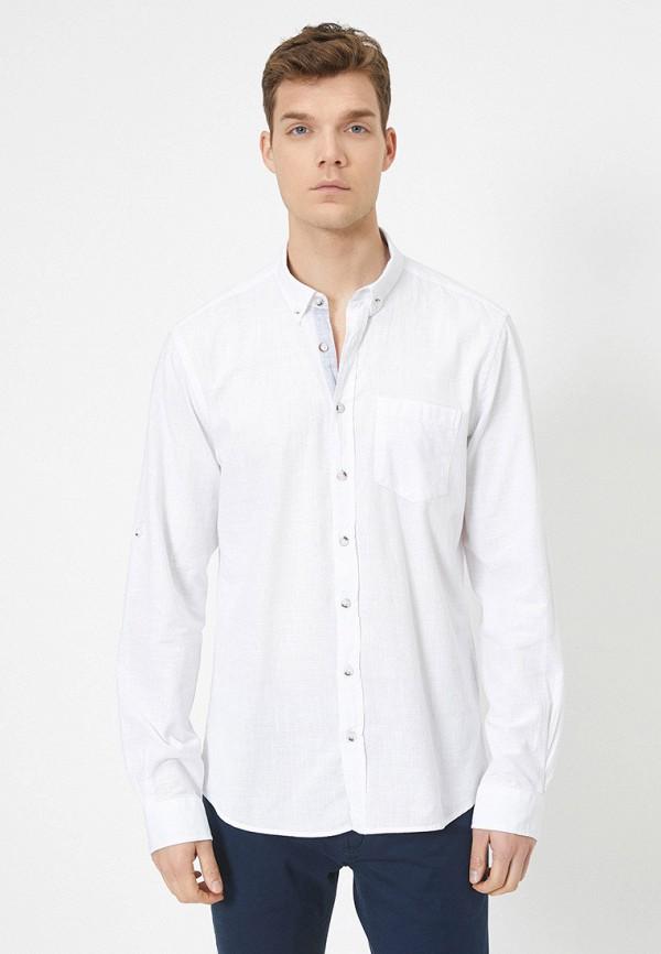 мужская рубашка с длинным рукавом koton, белая