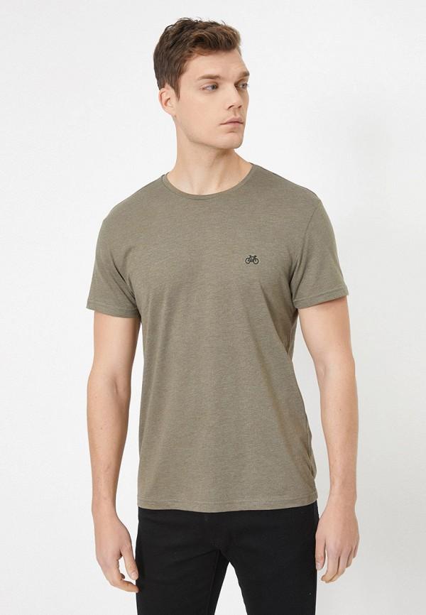 мужская футболка с коротким рукавом koton, хаки