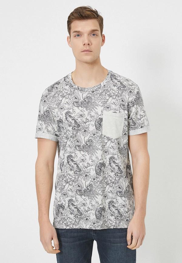 мужская футболка с коротким рукавом koton, серая