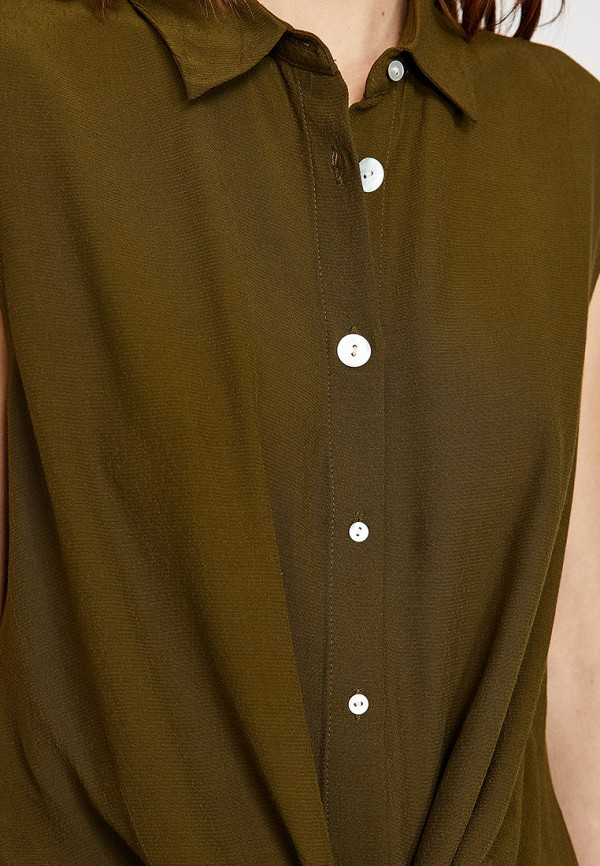 Фото 3 - Женскую блузку Koton цвета хаки