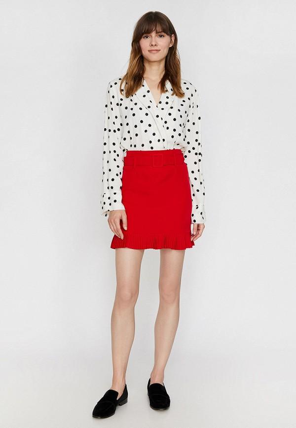 Фото 2 - женскую юбку Koton красного цвета