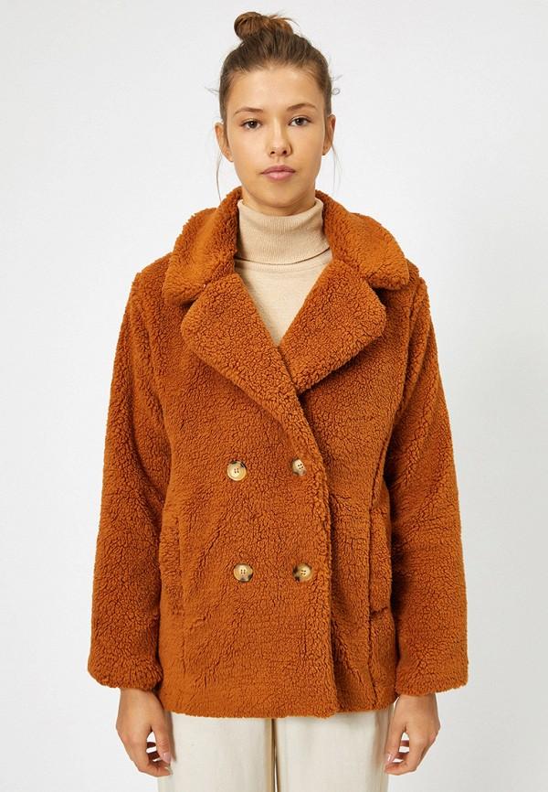 женская шуба koton, коричневая