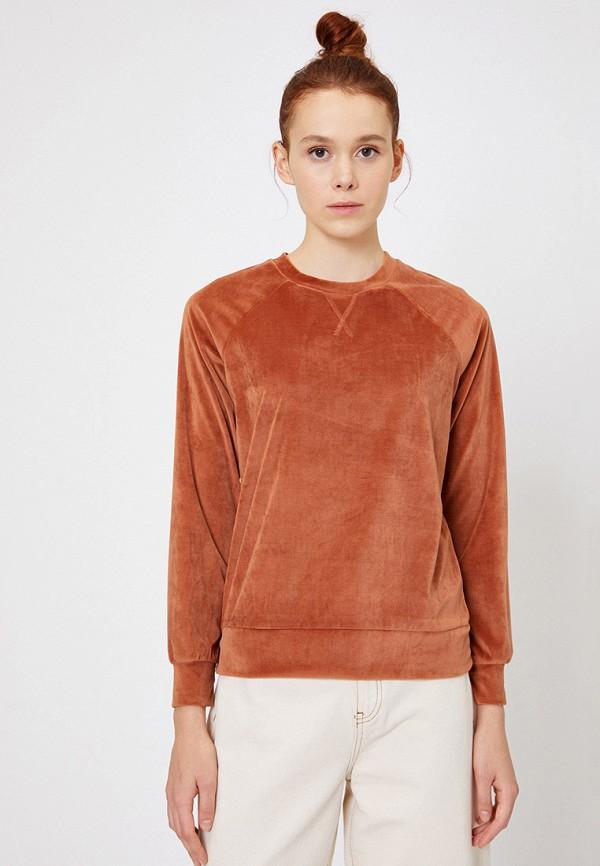 женский свитшот koton, коричневый