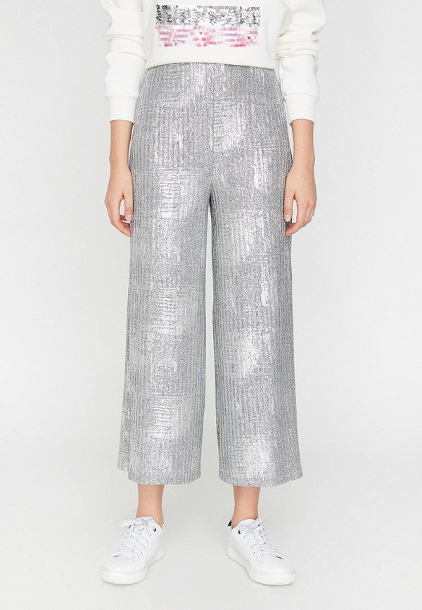 женские повседневные брюки koton, серебряные