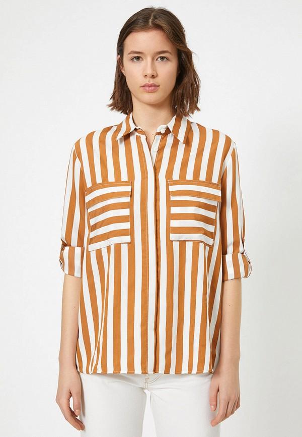 женская блузка koton, коричневая