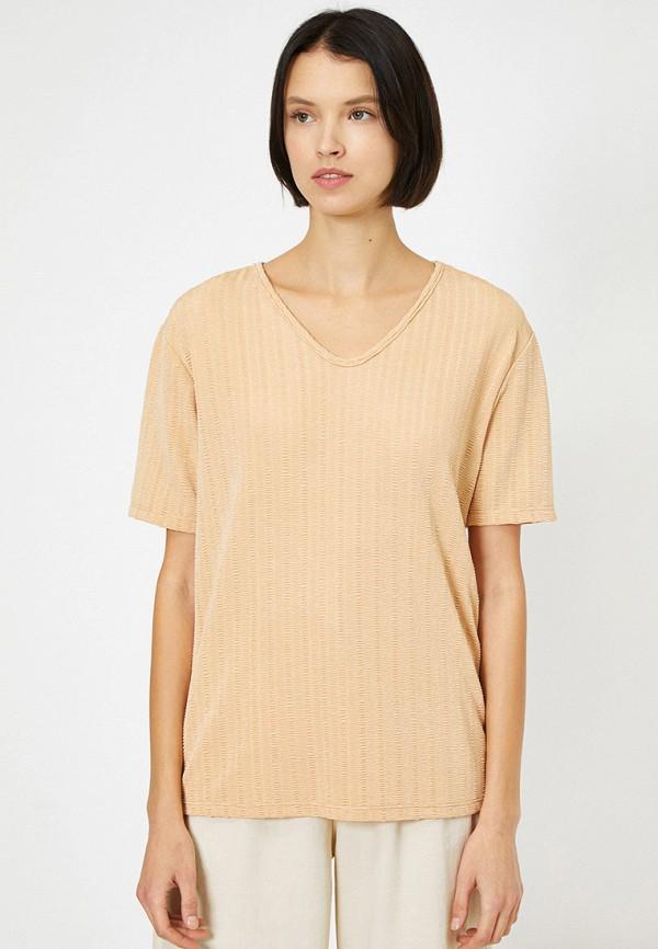 женская футболка koton, бежевая