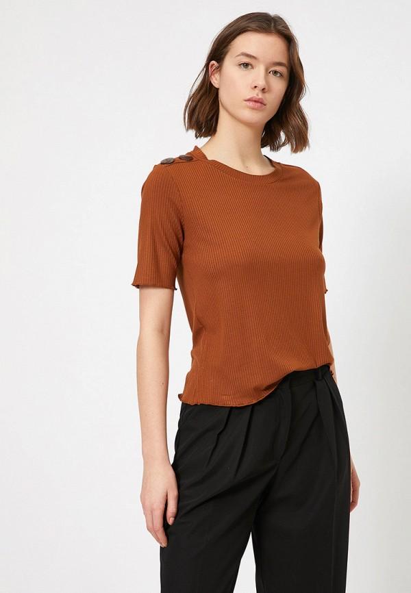 женская футболка koton, коричневая