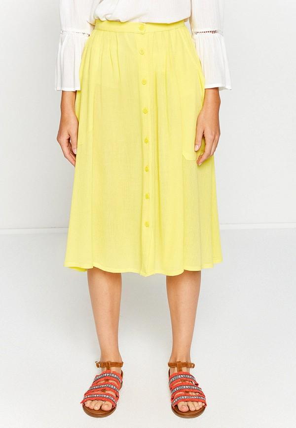 женская юбка-трапеции koton, желтая