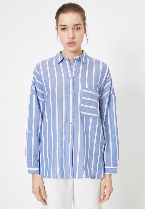 женская рубашка с длинным рукавом koton, голубая