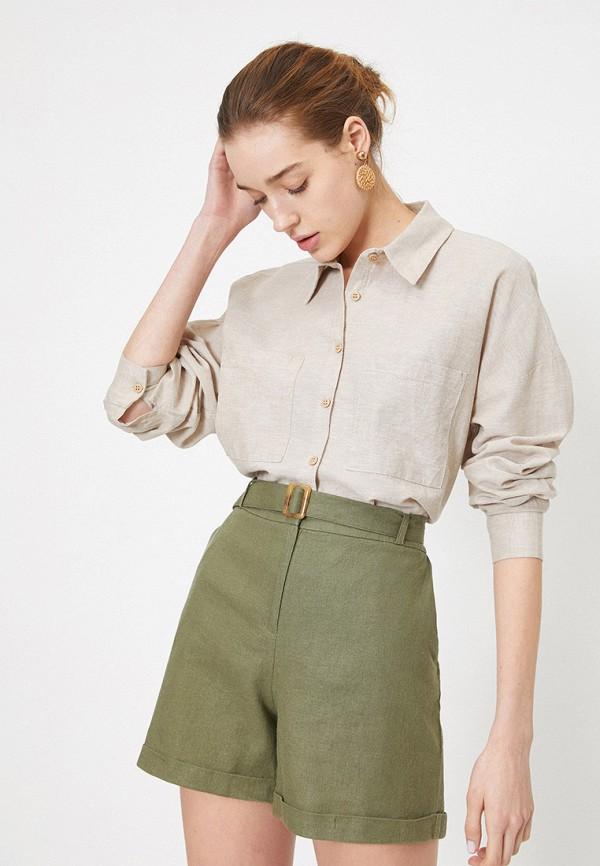 женская рубашка с длинным рукавом koton, бежевая