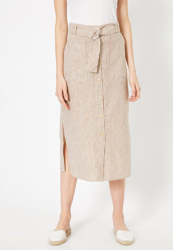 женская прямые юбка koton, бежевая