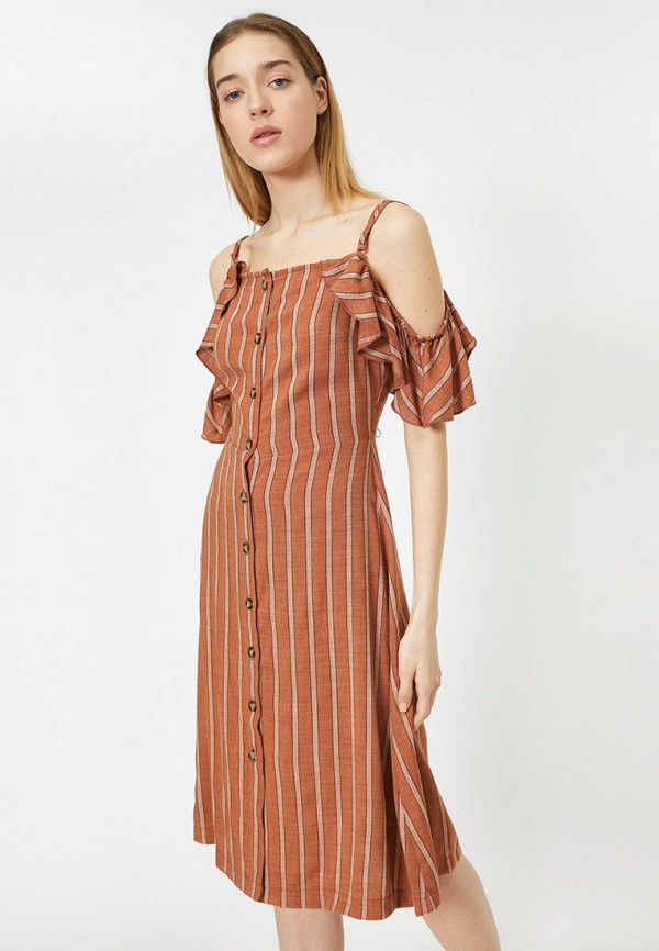 женское повседневные платье koton, коричневое