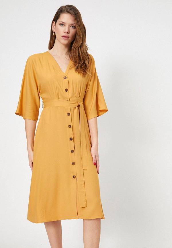 женское повседневные платье koton, желтое