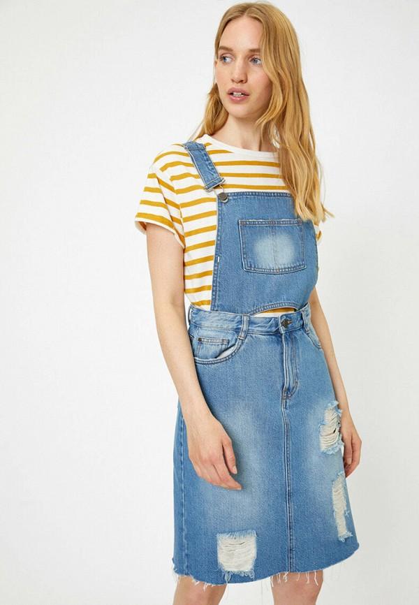 женский джинсовые комбинезон koton, синий