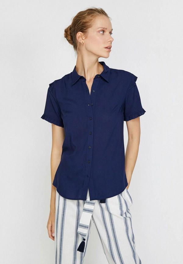 женская рубашка с коротким рукавом koton, синяя