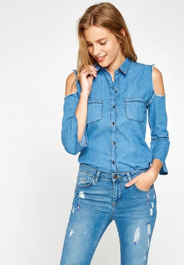 женская джинсовые рубашка koton, голубая