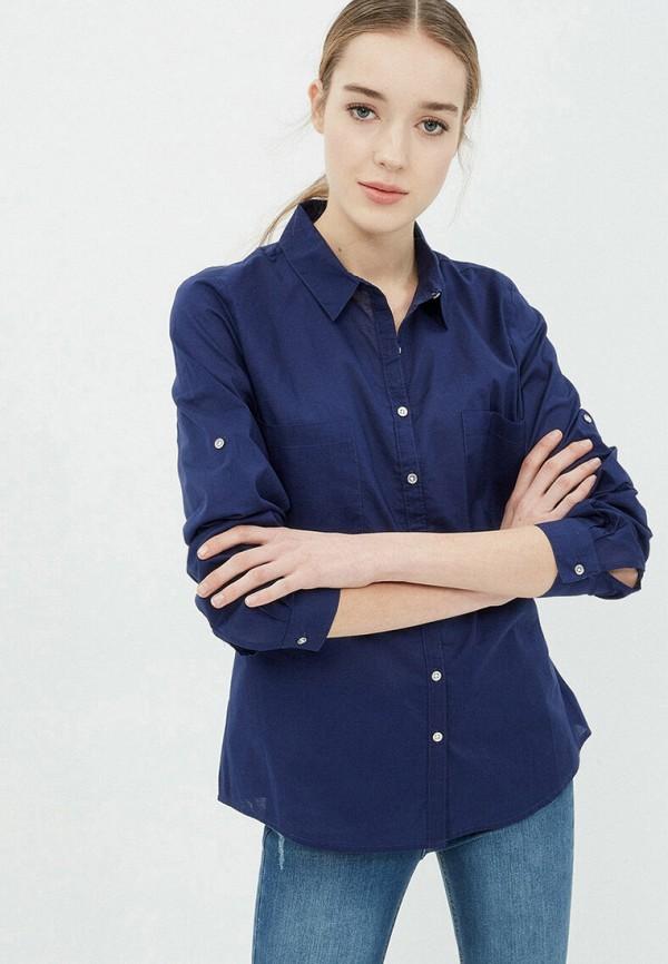 женская рубашка с длинным рукавом koton, синяя