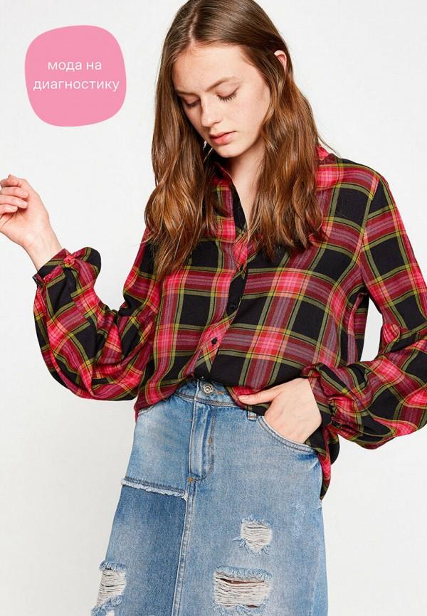 женская рубашка с длинным рукавом koton, красная