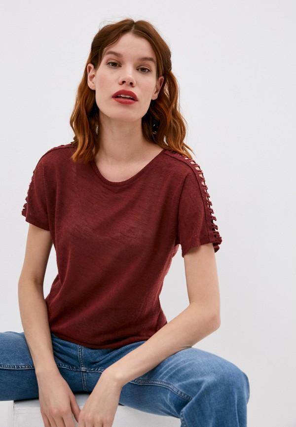женская футболка koton, бордовая