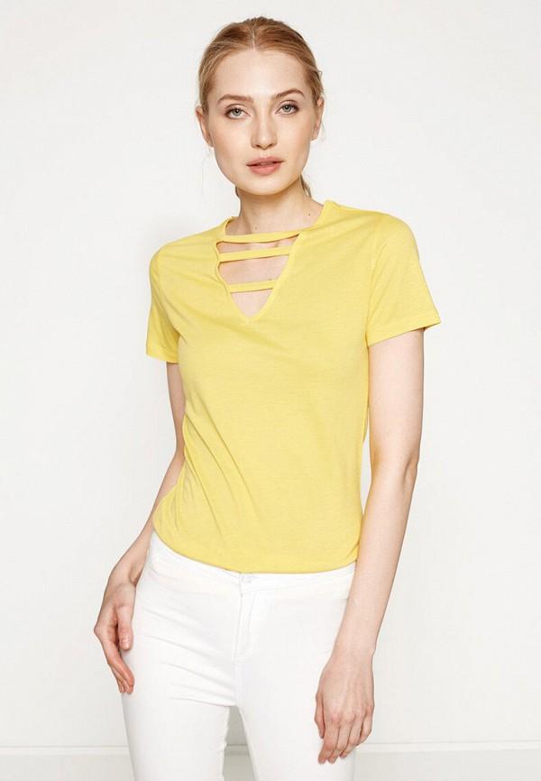 женская футболка koton, желтая