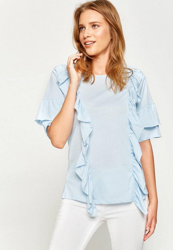 женская футболка koton, голубая