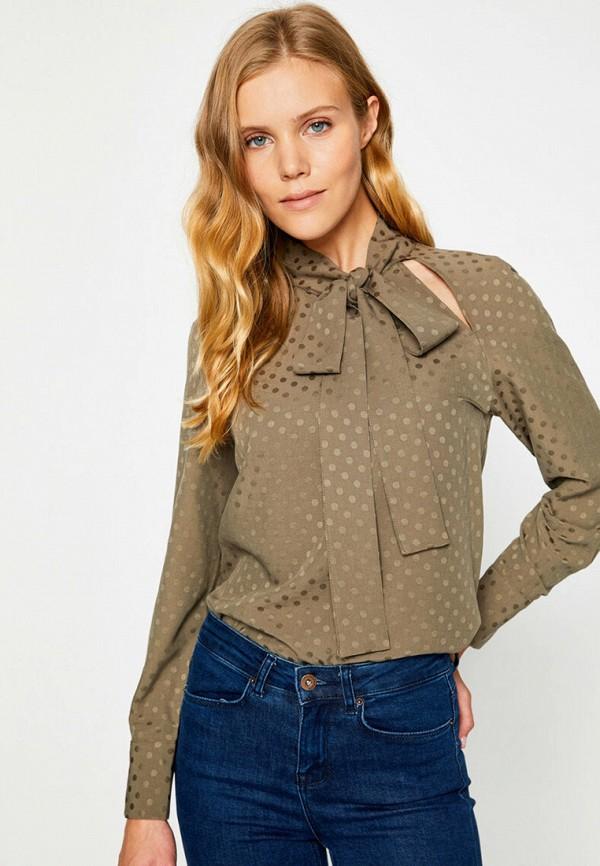 женская блузка с длинным рукавом koton, хаки