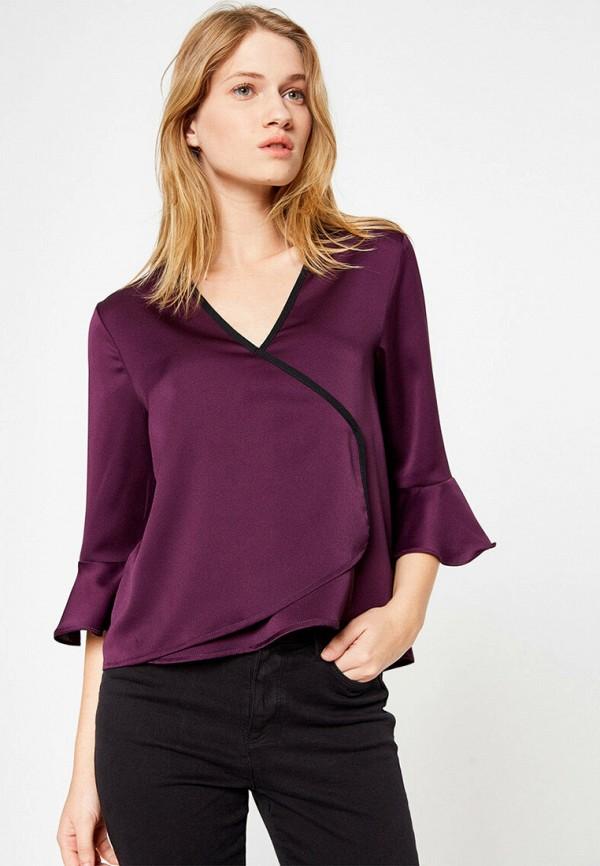 женская блузка с длинным рукавом koton, фиолетовая