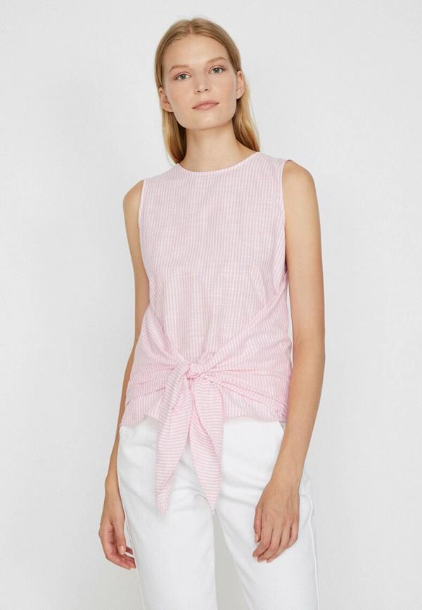 женский топ без рукавов koton, розовый