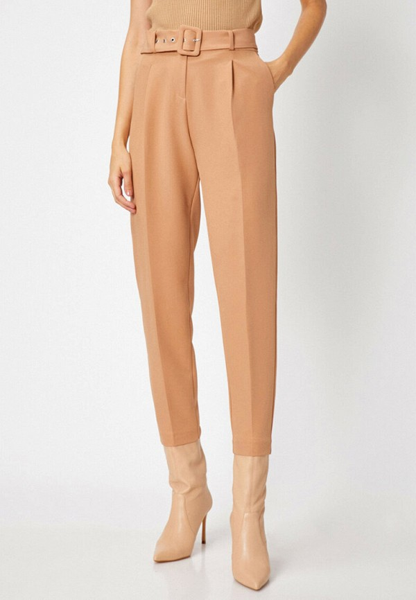 женские классические брюки koton, бежевые