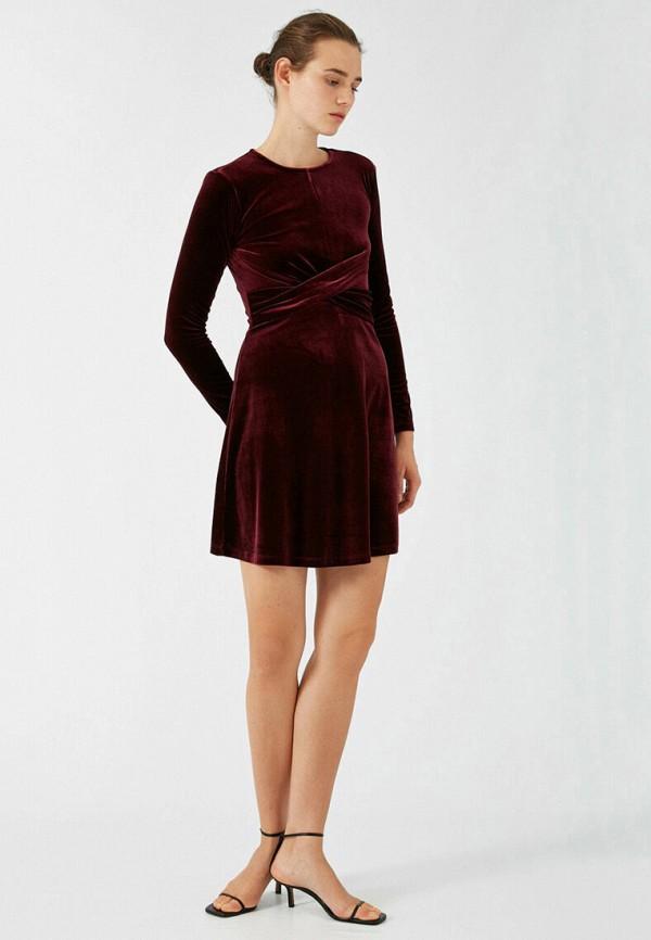 женское повседневные платье koton, бордовое