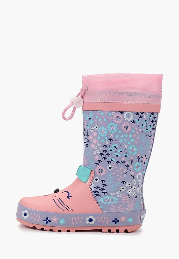 резиновые сапоги котофей для девочки, разноцветные