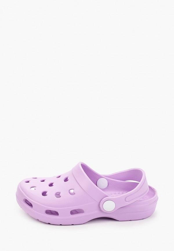 сабо котофей для девочки, фиолетовое