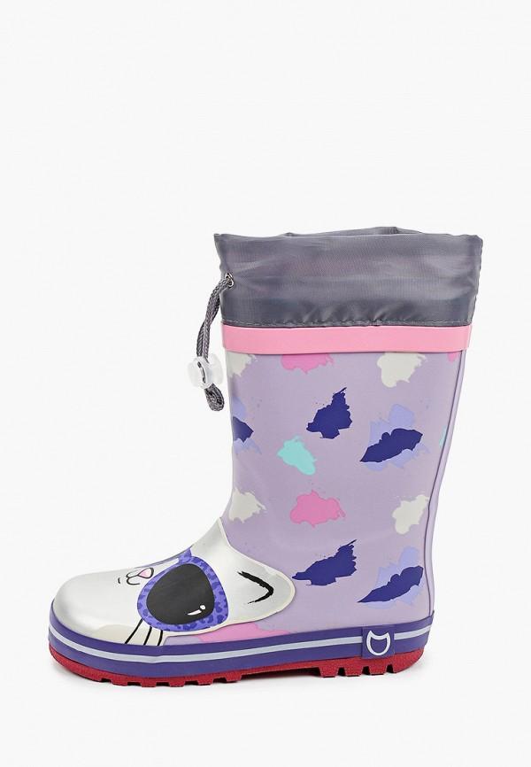 резиновые сапоги котофей для девочки, фиолетовые