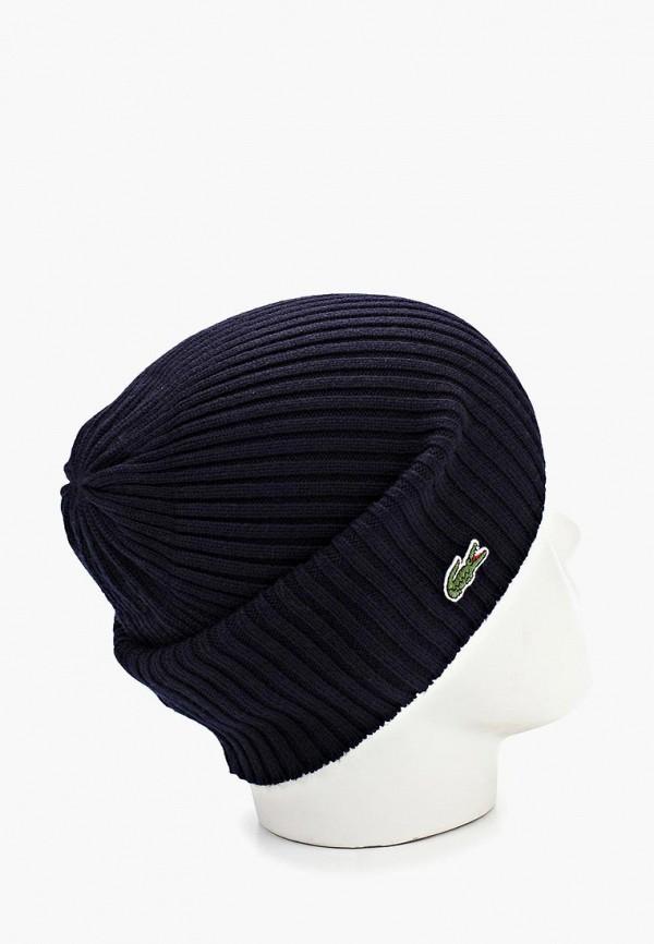 Фото 3 - мужскую шапку Lacoste синего цвета