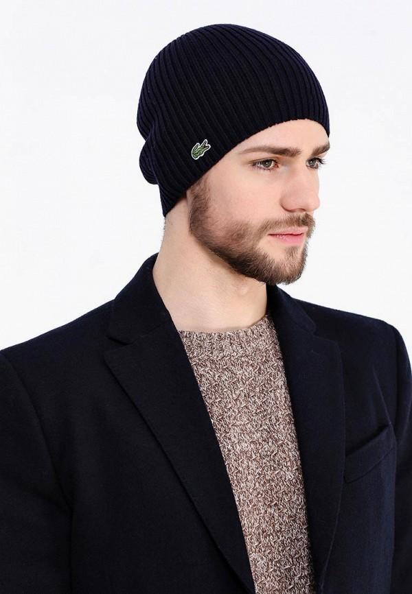 Фото 5 - мужскую шапку Lacoste синего цвета